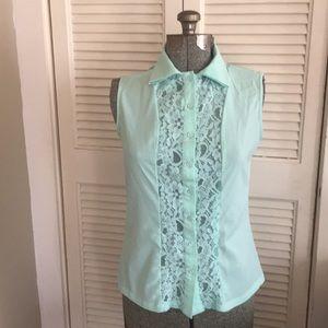 Kardashian Kollection mint sleeveless lace top